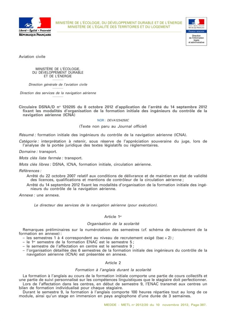 circulaire_dsna_applicatin_organisation_formation_initiale